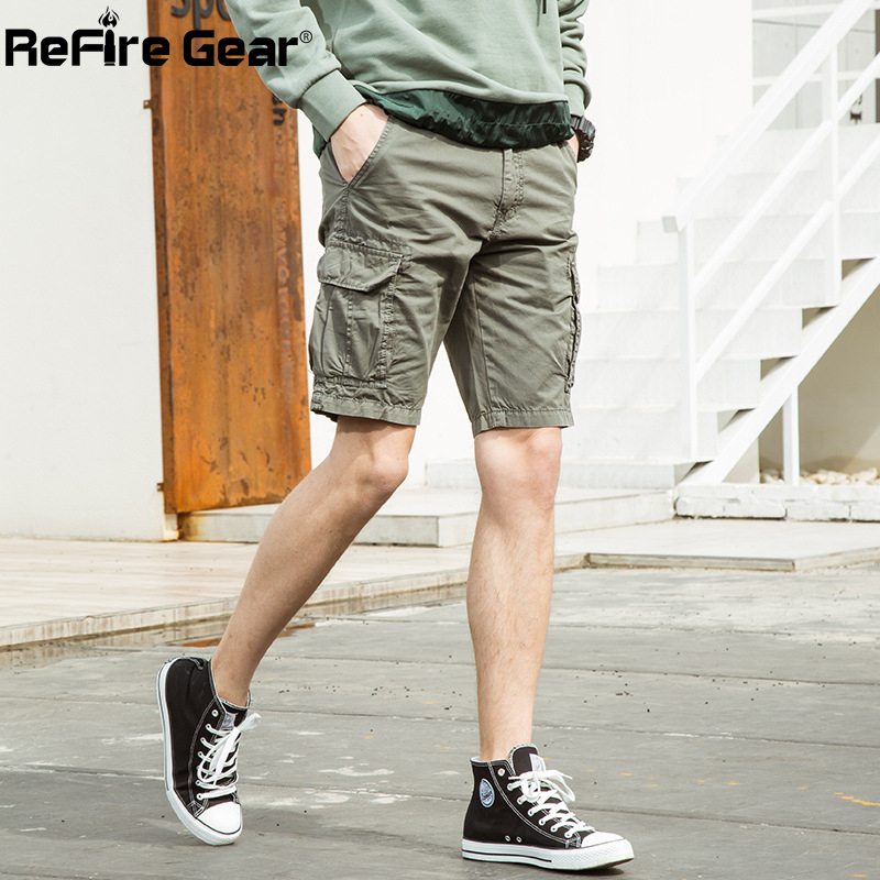 ReFire Gear Summer Casual Cargo Shorts Men Work Many Pockets Army Tactical Shorts Fashion 100% Cotton Thin Military Combat Short