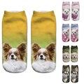 3D Impresso Meias Mulheres Nova Unisex Bonito CÃO Baixo Tornozelo Corte Meias Caracter de Várias Cores meias de Algodão Casuais das Mulheres meias