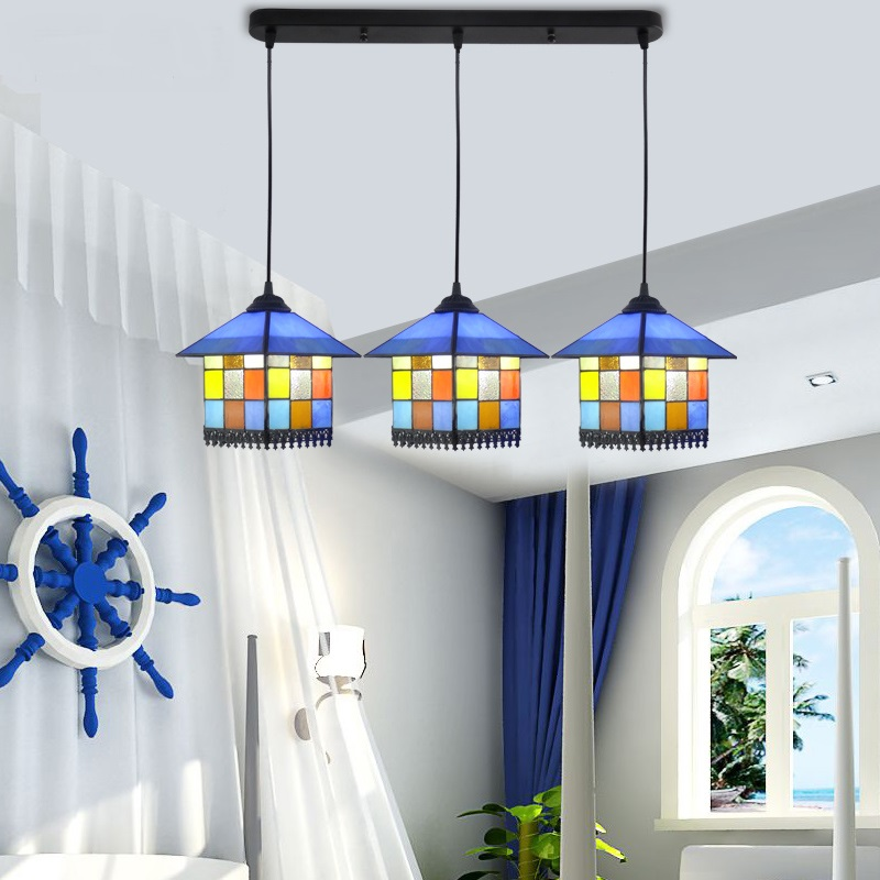 Tiffany personality house children room pendant light European style Mediterranean style restaurant bar pendant lamp DF10