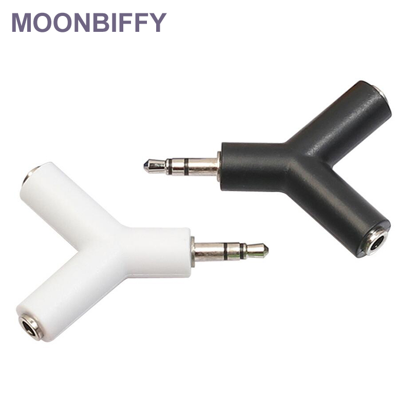 MOONBIFFY 3.5mm Double Jack Adapter To Headphone For Samsumg For IPhone MP3 Player Earphone Splitter Adapter White/black