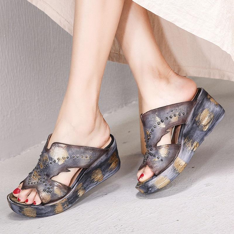 JELLYFOND Women's Genuine Leather Slippers Summer Sandals Platform Wedge Slipper Vintage 2019 Luxury Designer Slides Shoes Woman