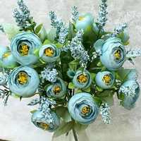 Encantadoras 10 cabezas de boda Mini ramo de Flores de seda Artificial novia hogar boda decoración falsa peonía flor rosa