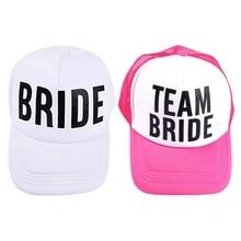 BRIDE TO BE TEAM BRIDE Bachelorette Hats Women Wedding Preparewear Trucker  Caps White Neon Summer Mesh 55bae6601d3f