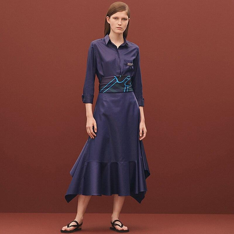 Mode 2019 Longue Chemise Irrégulière Longues Manches Costume 1 Nouvelle Jupe Haut À Swing Taille Printemps Grande Revers 4rE0rq