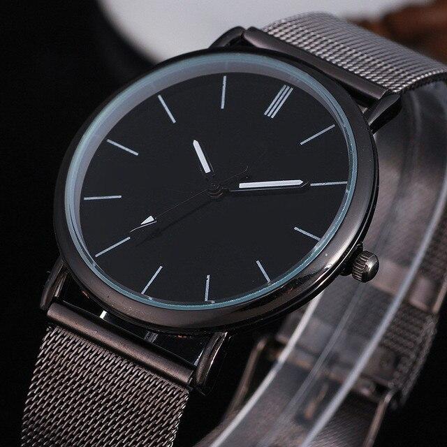 Dropshipping 2018 Mens Watches Top Brand Luxury Women Watch Black Stainless Steel Mesh Unisex Quartz Wrist Watches Reloj Hombre