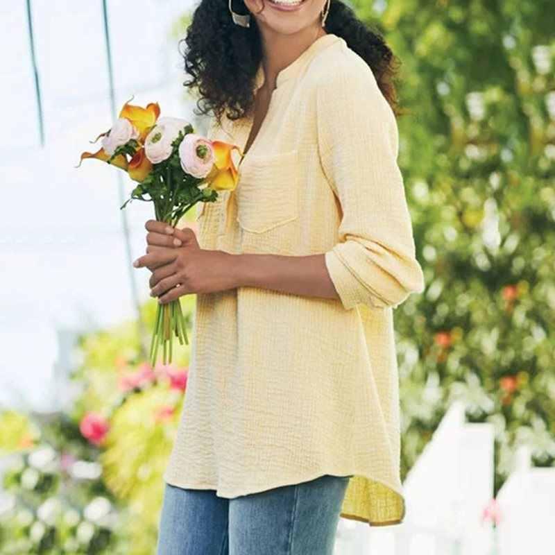 Повседневные розовые Boho Большие размеры осенние желтые блузки женские летние элегантные свободные простые карманы на пуговицах женские пляжные сексуальные рубашки для путешествий