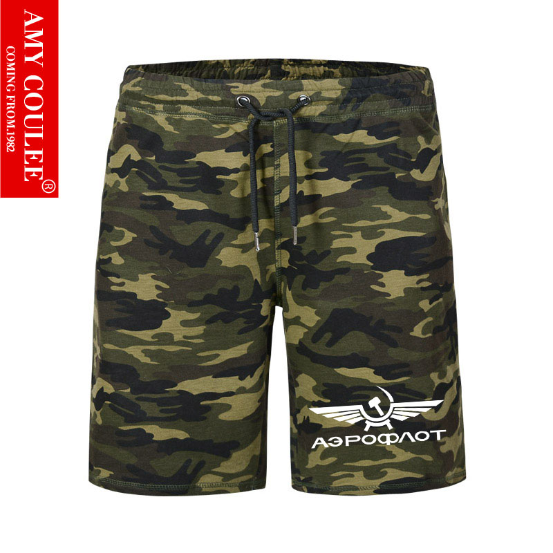 Russian Airlines Printed Camouflage Shorts Men Flying Flight Short Pants Women Airport Army Cool Wings Comfortable Military