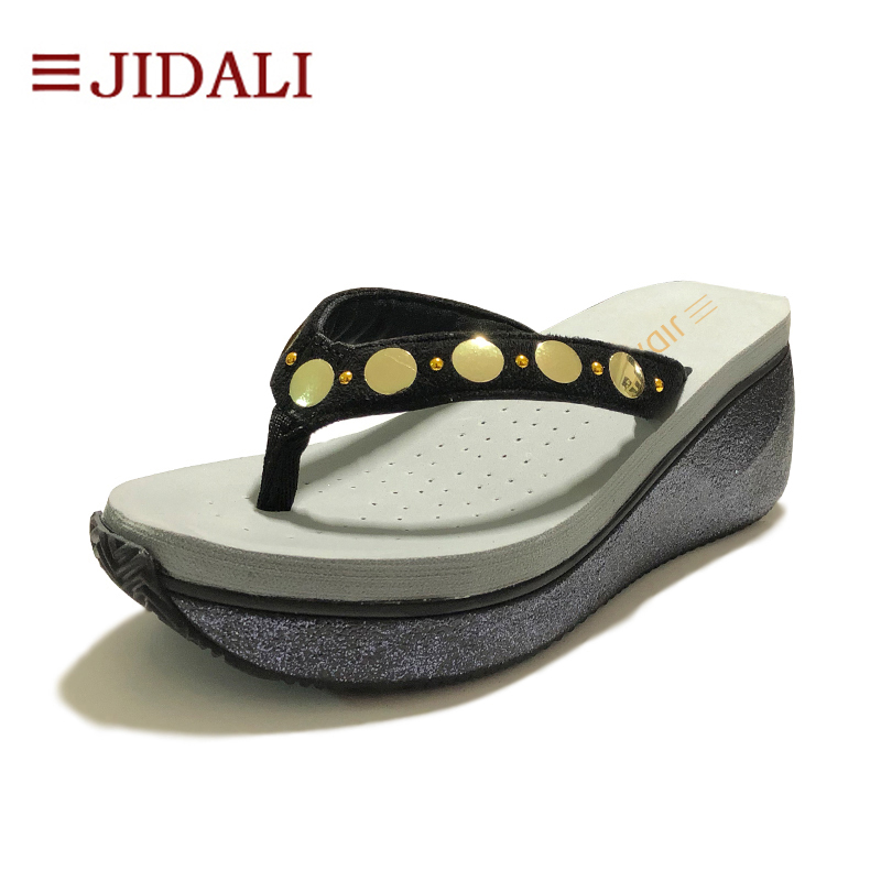 JIDALI Gold Steel Ornament Flip Flop Trend Ladies Footwear 7cm EVA Excessive Wedges Platform Exterior Sport Sandals Summer season Dimension 35-40 Flip Flops, Low-cost Flip Flops, JIDALI Gold Steel...