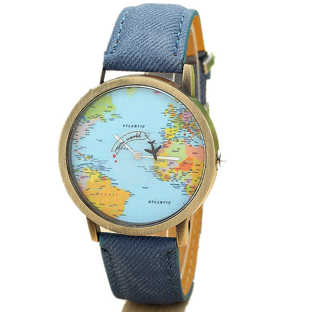 Quartz watch world travel map watches - retro wrist watch different styles and colours 3