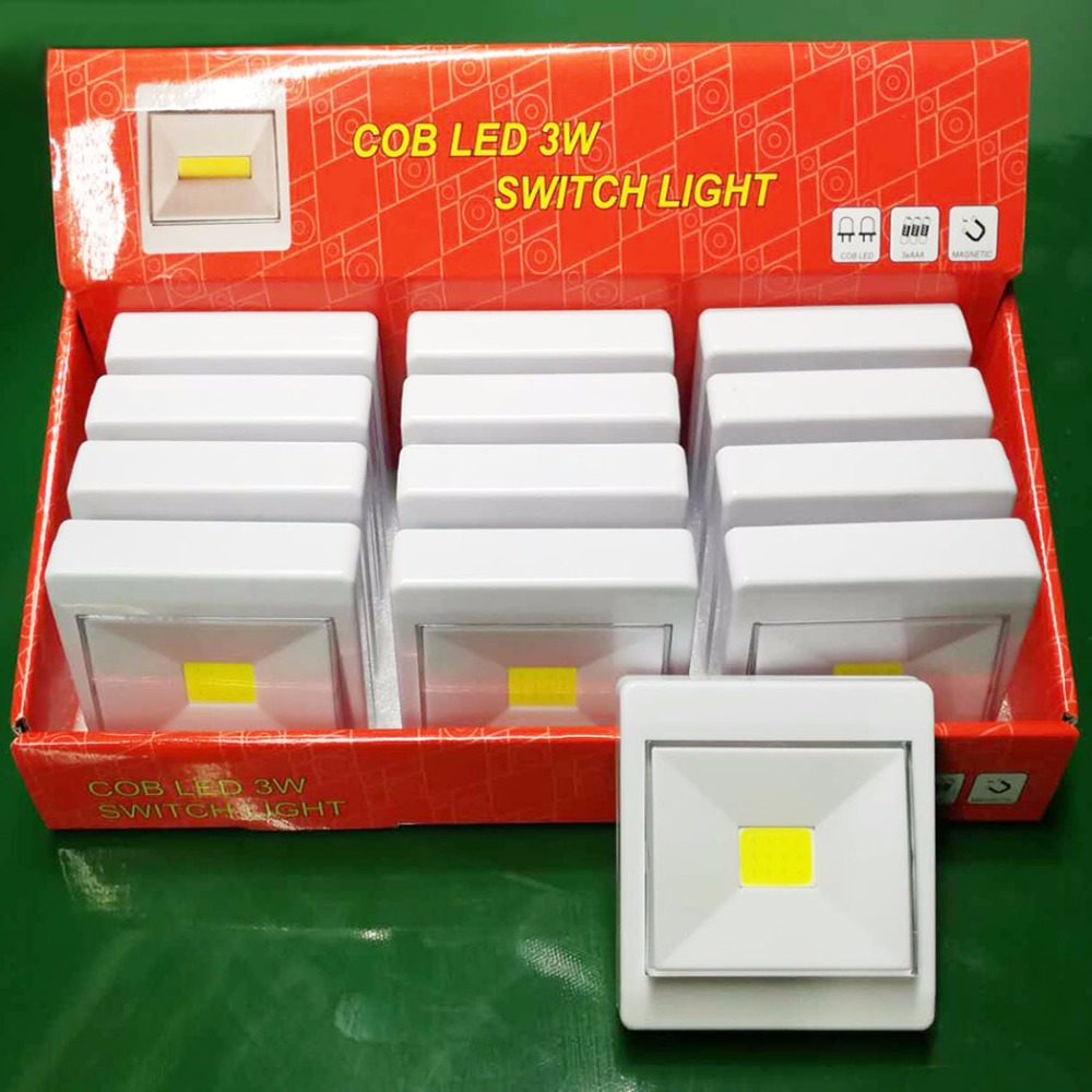 Whosale 12PCS COB LED Switch Night Light Porch Wall Lamp for Bedroom Hallway Cabinet Kitchen Closet