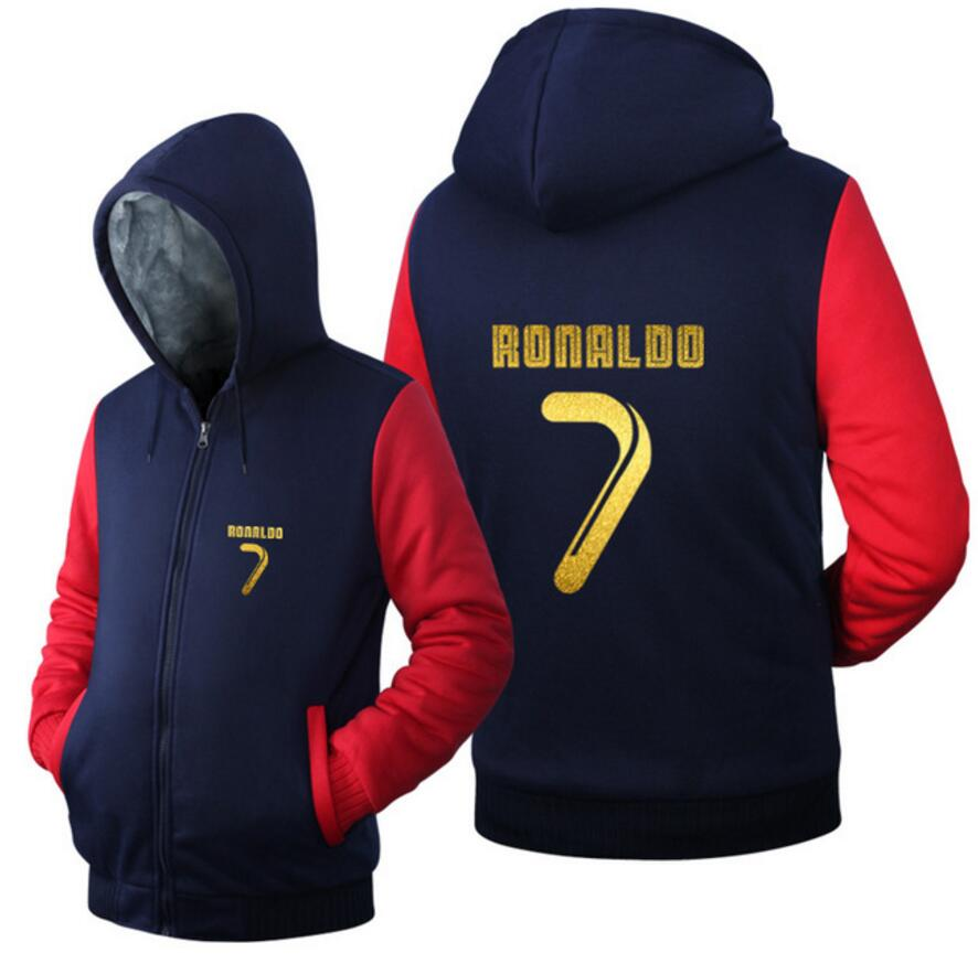 New Arrival Men Hoodies CR7 Cristiano Ronaldo Man's Design Male Jacket Thicken Fleece Zip up Tops Plus size