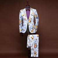 Певица звезда стиль танец этап печати Костюмы для мужчин Жених костюм комплект с брюки девочек 2019 S свадебные