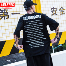 AELFRIC Summer Mens Hip Hop Cotton T Shirt Dragon Ball Print Oversize T shirts Swag Tees