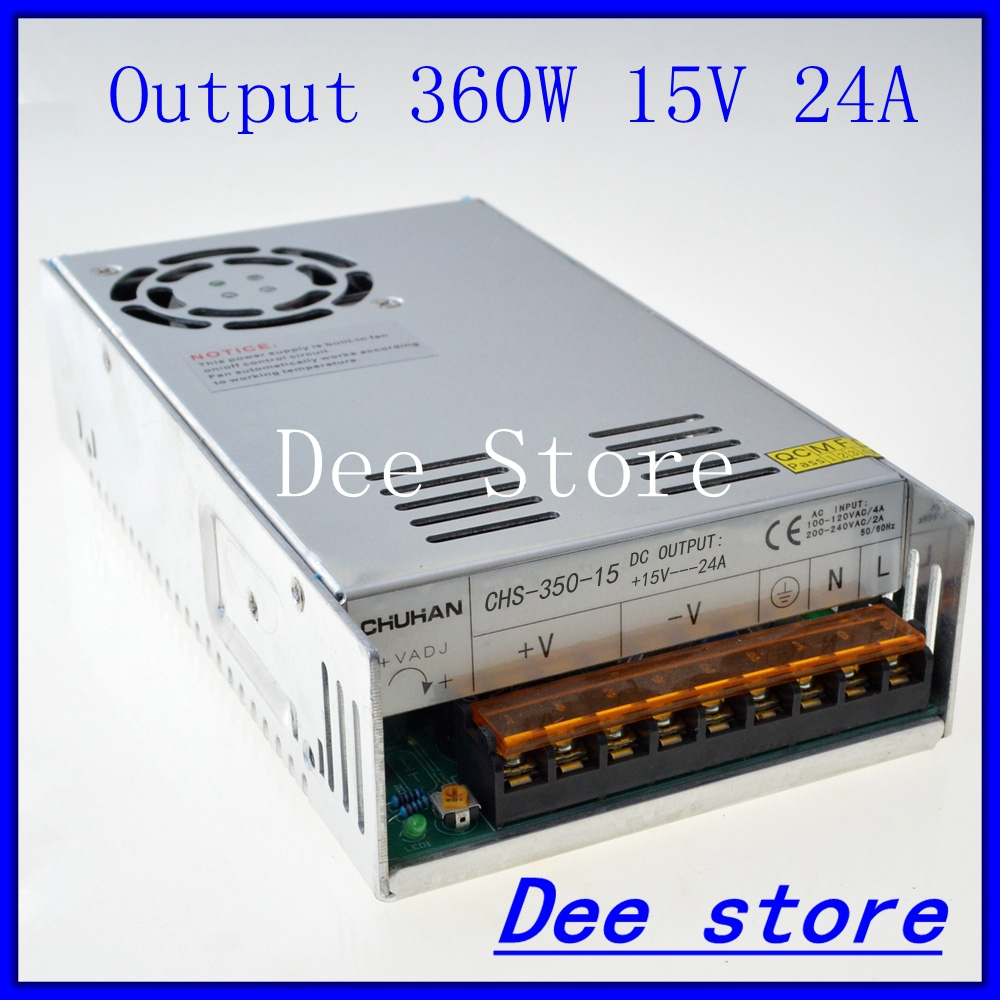 Led driver 360W 15V 24A Single Output   ac 110v 220v to dc 15v Switching power supply unit for LED Strip light allishop 300w 48v 6 25a single output ac 110v 220v to dc 48v switching power supply unit for led strip light free shipping