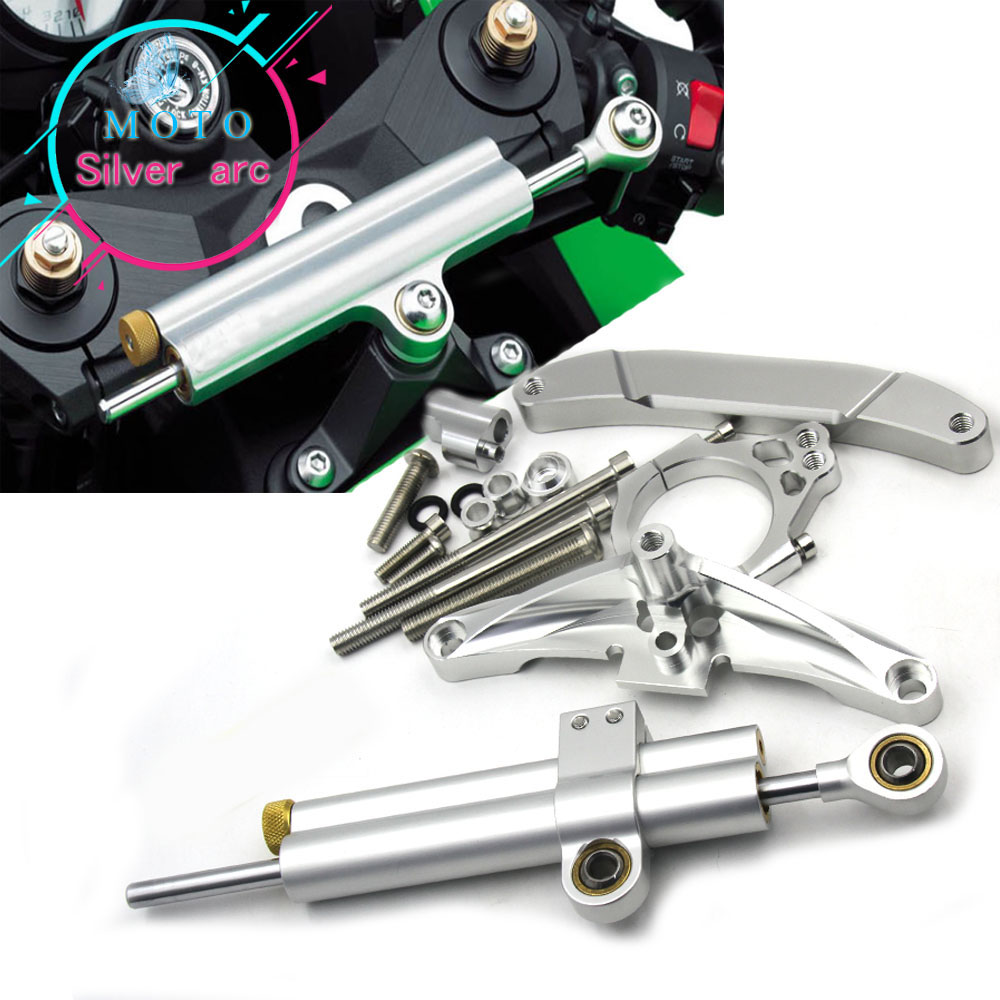 цена на CNC Aluminum Adjustable Motorcycles Steering Stabilize Damper Bracket Mount Kit For Yamaha FZ1 FAZER 2006 2007 2008-2015 14 13
