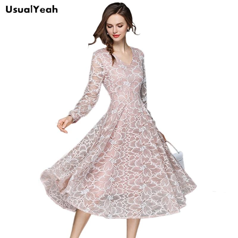 b029b8a63d485 Pas cher USUALYEAH 2018 femmes robe Vintage a ligne dentelle v cou Slim OL  robes à