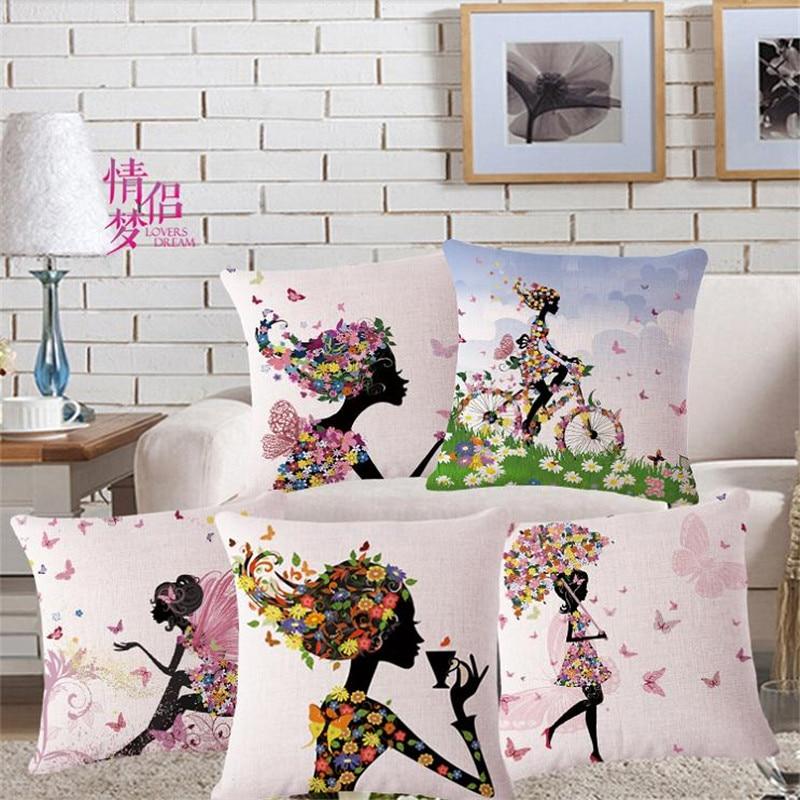 Decorative throw pillows case flower fairy girl butterfly tree cotton linen seat cushion cover for sofa decor almofadas 45x45cm