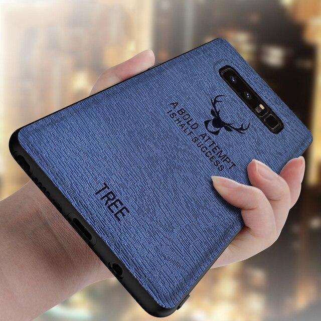 Para Samsung S8 S9 Plus Funda de cuero para Galaxy S8 S9 Nota 8 9 anti-caída de silicona suave de TPU línea de árboles de la cabeza de ciervo de la cubierta