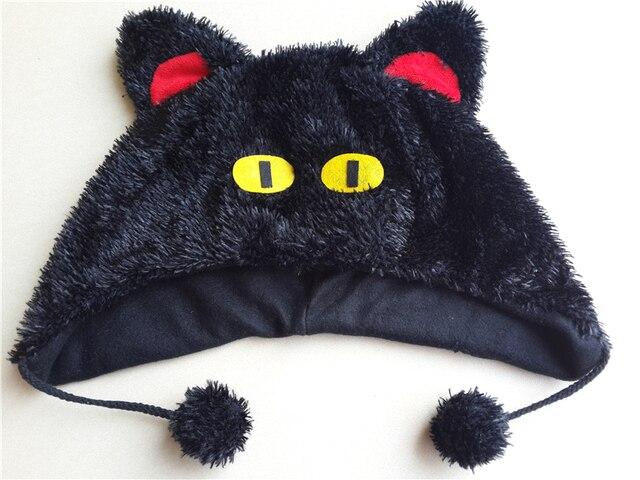 Mujeres invierno Harajuku lana tejer gorros felpa jiji gato negro ...