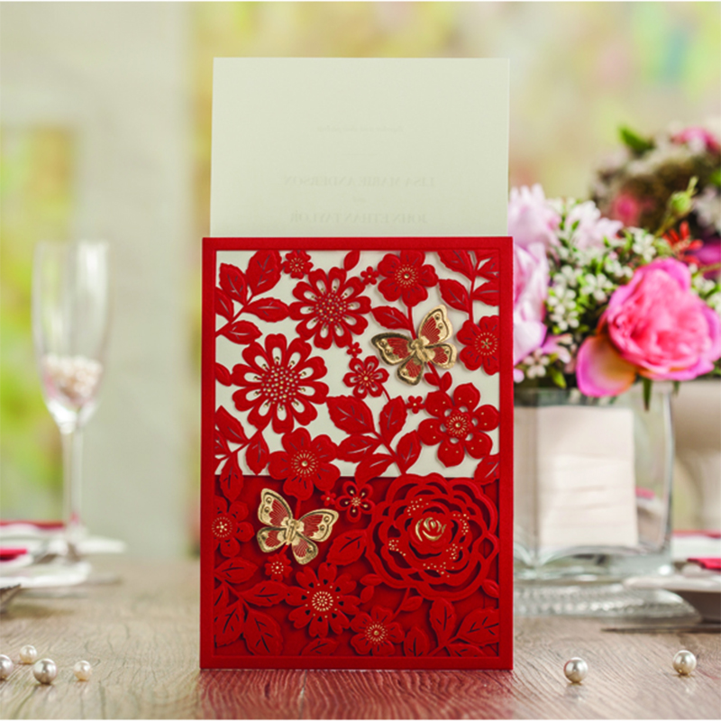 Pocket Design Laser Cut Red Flower Butterfly Rose Wedding Invitations Printing Blank Inside Lace Invitation Card Kit design laser cut lace flower bird gold wedding invitations kit paper blank convite casamento printing invitation card invite