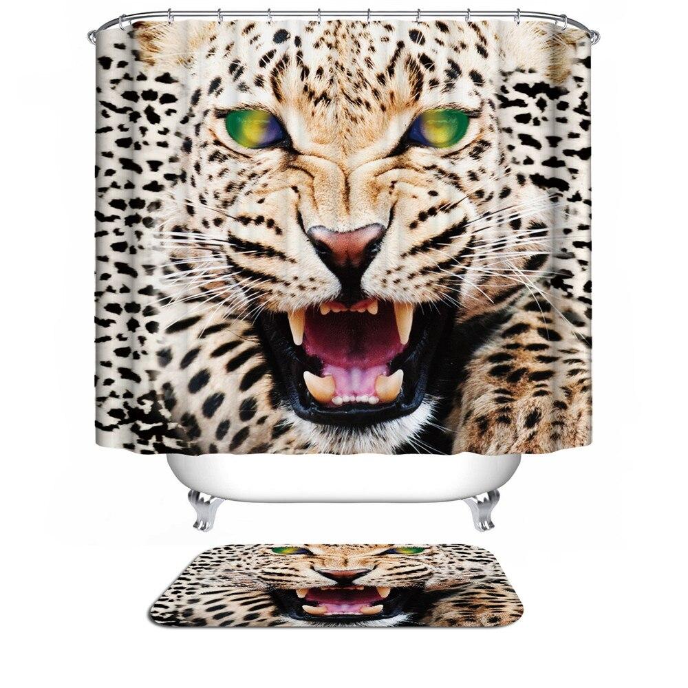 Leopard shower curtain - Warm Tour Leopard 3d Shower Curtain For The Bathroom Modern Lion Tiger Unique Bathroom Fabric Bath