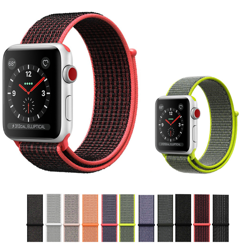 Nylon strap band for apple watch sport loop 42mm 38mm iwatch 3/2/1 breathable Woven Nylon bracelet watchband+hook-and-loop clasp band for apple watch pink stripes woven nylon fabric buckle watchband 38mm 42mm sport strap for iwatch 2 watches accessories