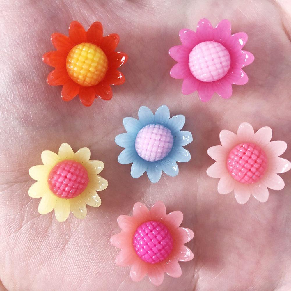 New 20pcs 17mm Resin Rainbow mix 3D sunflower Flatback Wedding buttons diy craft