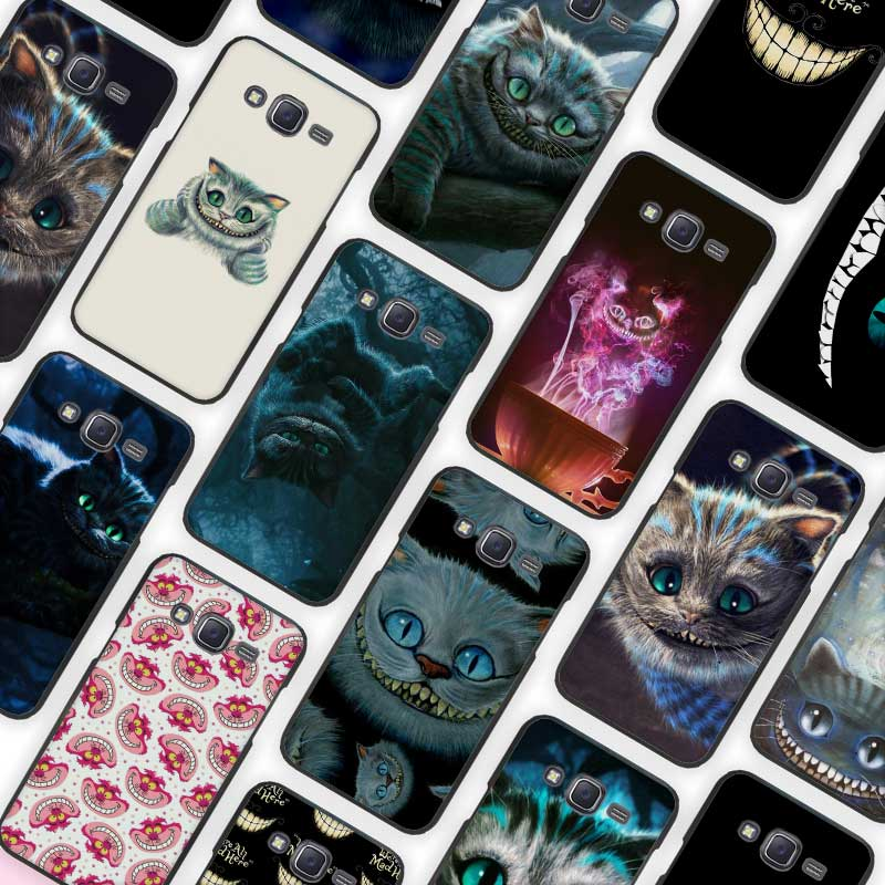 Alice in Wonderland Cheshire Cat Black Case Cover Shell Protective for Samsung Galaxy J1 J2 J3 J5 J7 2016 2017