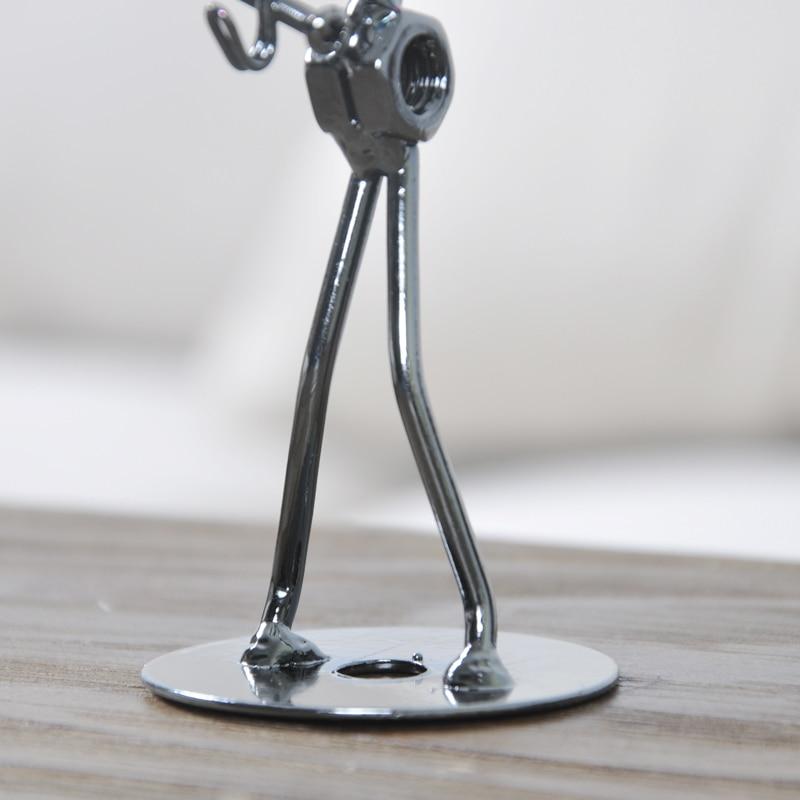 Ensemble de 8 pièces Mini Bande Sculpture Instrument de Musique Figurine Ornement Statuel Music Man Figurines Fer Basse Guitare Music Man - 6