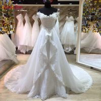 Amdml Fashionable Lace Mermaid Wedding Dress 2017 Detachable Train Vestido De Casamento Backless Vintage Boat Neck