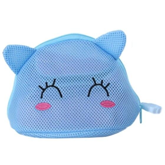 IALJ Top Máquina de lavar roupa interior saco de rede dedicada bra bra saco de lavagem de proteção shell forma de gato