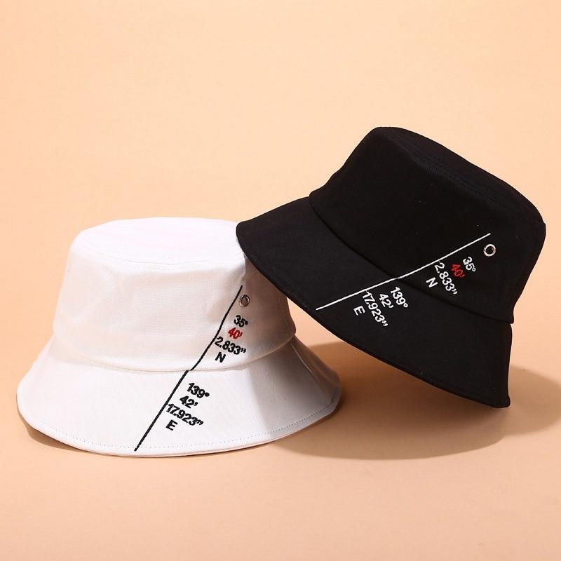 Creative East - North Latitude Digital Fisherman Hat Women Summer Literary Sun Visor Metal Gas Eye Cap Men Bucket Hat Beanies