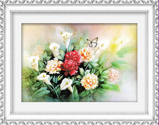 Hot Needlework, DIY DMC Cross Stitch Sets Embroidery Kits Magnolia Butterfly 3D Counted Cross-stitch Wall Home Decoration - Happy flowers open store