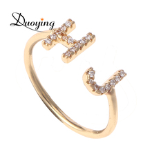 Duoying Double 7 mm Letter Ring Full Zirconia Micro Pave Rings for Etsy Simple Luxury Ring for Women Bling Jewelry Open Ring