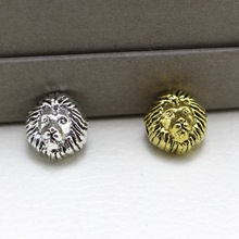 50pc/lot 12mm Metal Charms for Jewelry DIY Making Antique gold antique silver Lion Head Beads Spacer Bead for bracelet
