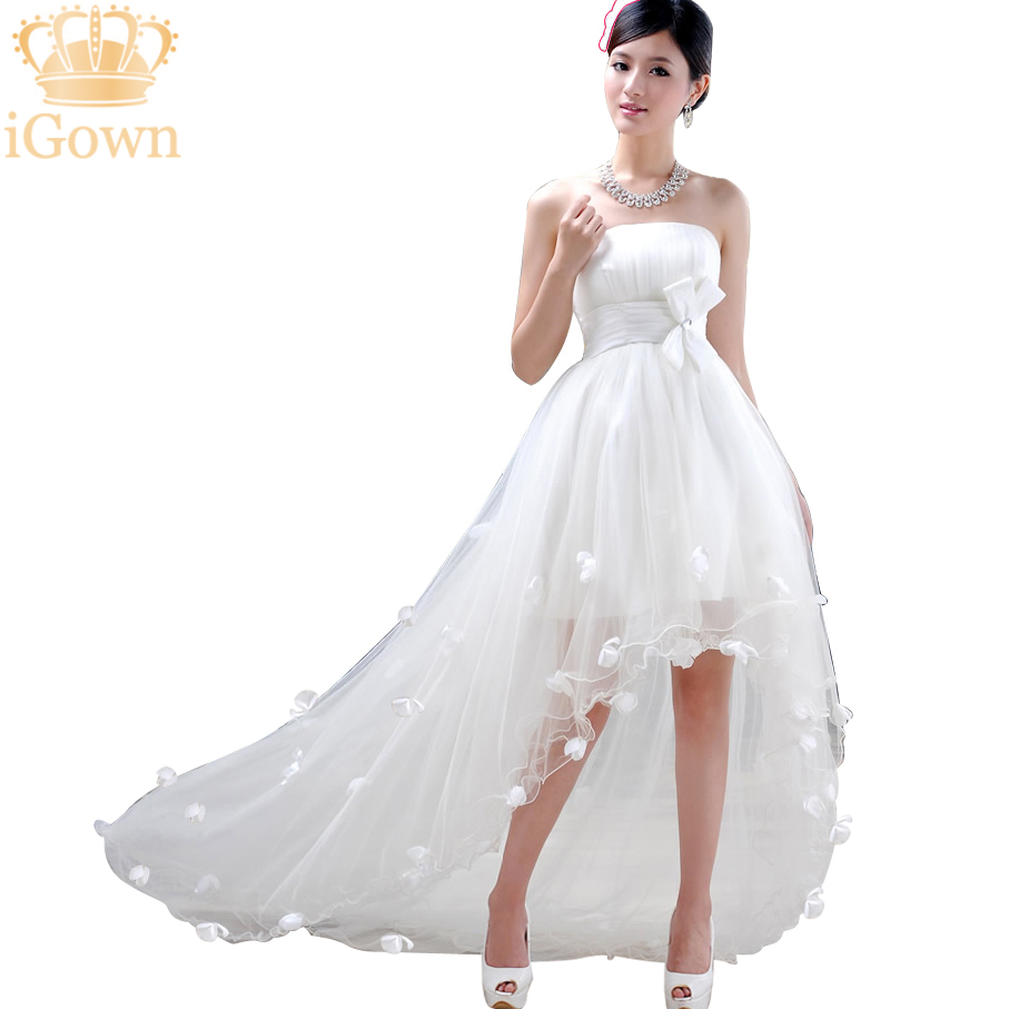 Igown hot sale sweetheart beaded belt short front long for Short wedding dresses for sale