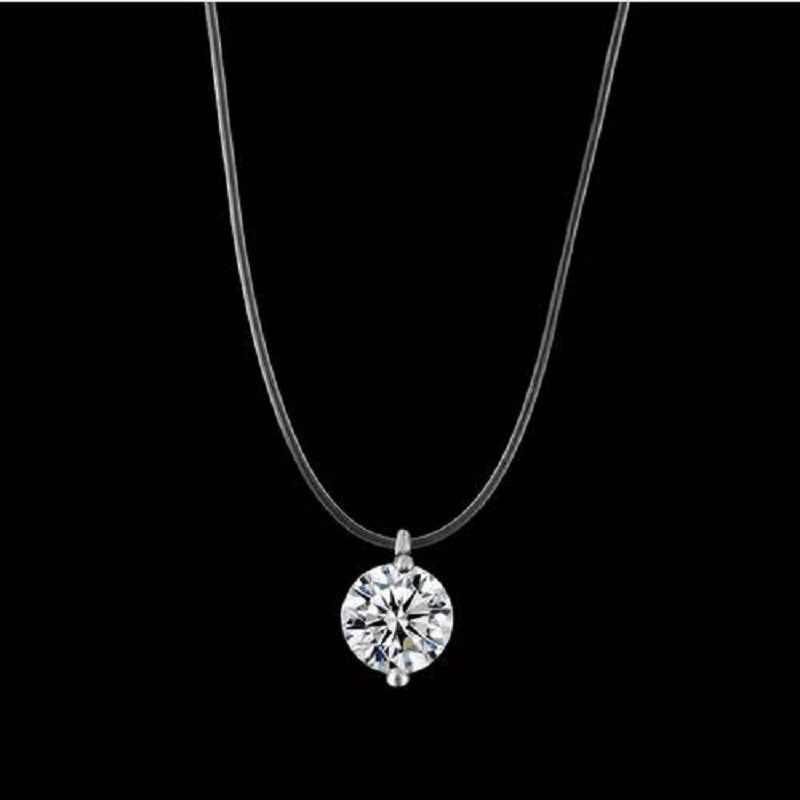新マーメイド涙ネックレス隕石ペンダント透明釣り糸インビジブル女性のネックレスジュエリー鎖骨チェーン