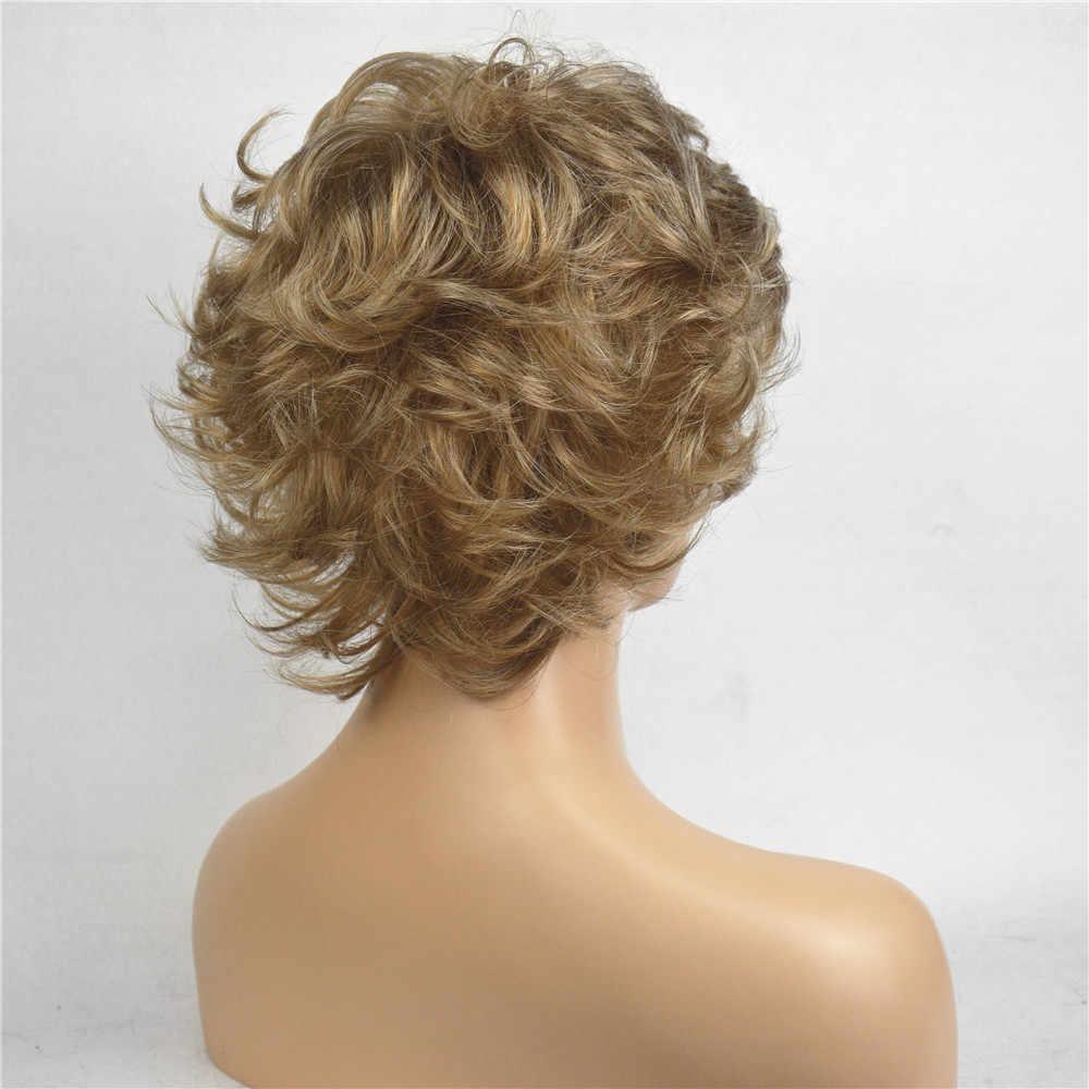 StrongBeauty damskie peruki syntetyczne złoty krótkie kręcone włosy bez czepka peruka naturalna