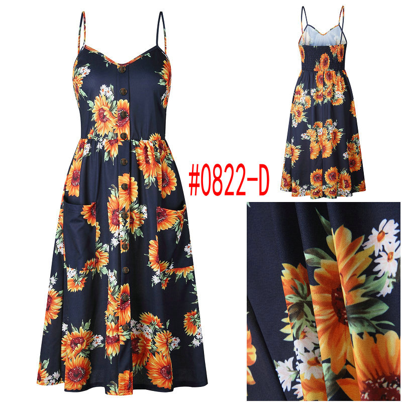 HTB1x1dlbwaH3KVjSZFpq6zhKpXaK Summer Women Dress 2019 Vintage Sexy Bohemian Floral Tunic Beach Dress Sundress Pocket Red White Dress Striped Female Brand Ali9