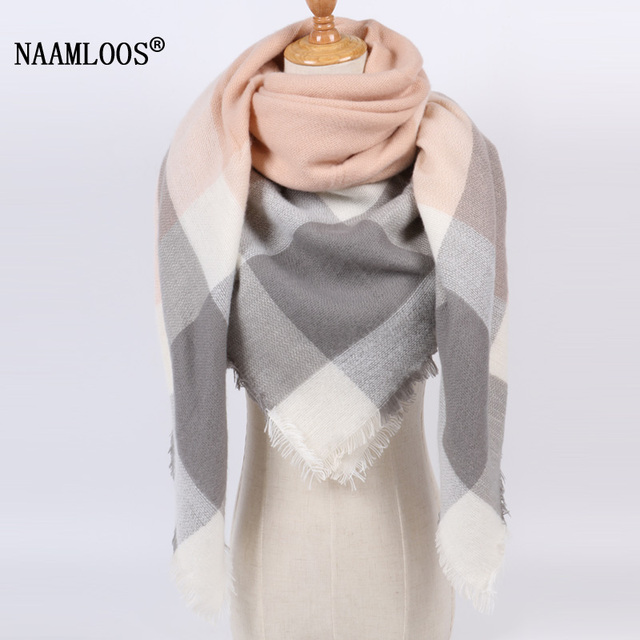 2017 Brand Winter Scarf for Women Soft Cashmere Blanket Warm Fashion Plaid Square Shawl Size 140cm X 140cm Wholesale