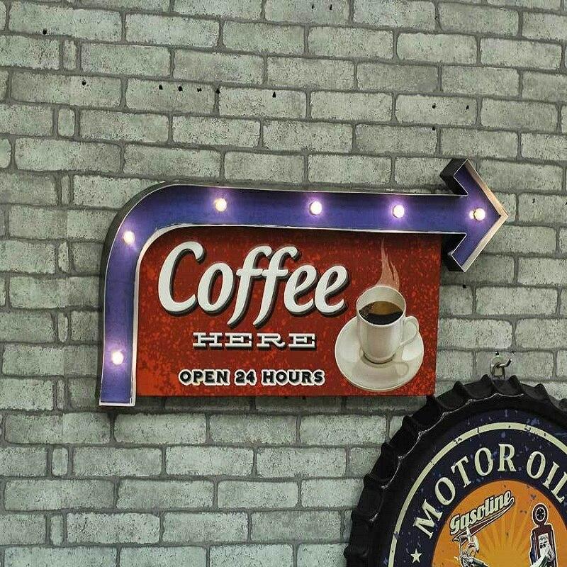 LED boutique signes intérieur bar vintage métal signes ornements fer feuille peint fond mur décoration café décor drôle signes