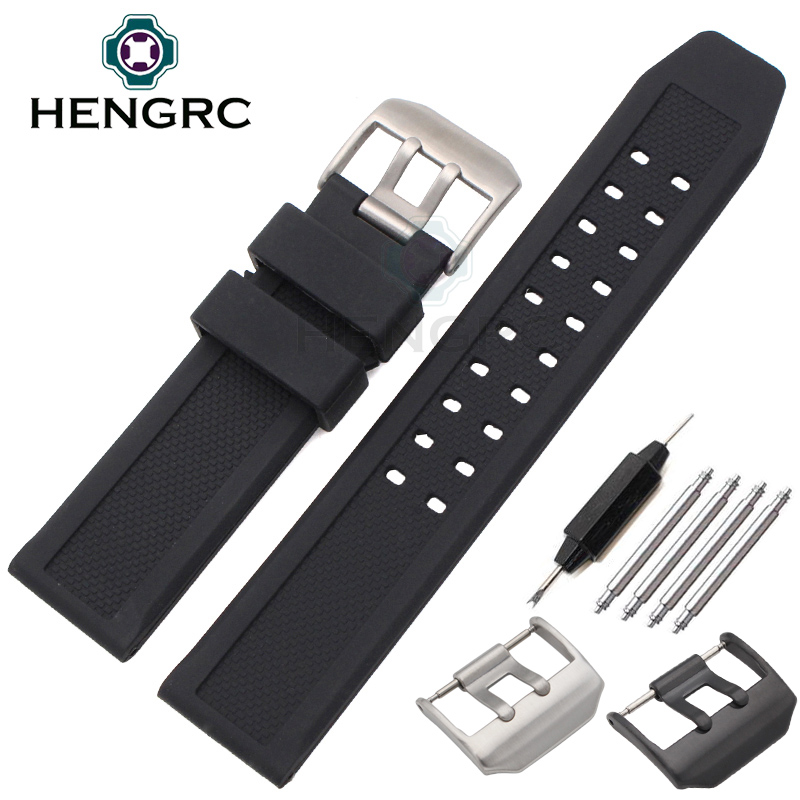 HENGRC 23mm Silicone Watch Strap Men Black Sport Diving Rubber Watchbands Stainless Steel Black Buckle Accessories 20mm watch band strap watchbands for men s women sport diving silicone rubber black blue silver buckle relojes hombre