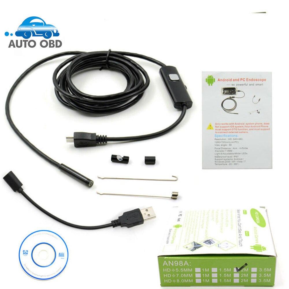 1m//1,5m//2m//3,5m//5m Inspektionskamera Endoskop 6LED Endoscope Wasserdicht Android