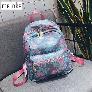 Meloke Korean 3D Flamingo Cartoon Printing Backpack Stitching Floral Casual Daily Travel Bag Teenagers School Bag Mochila