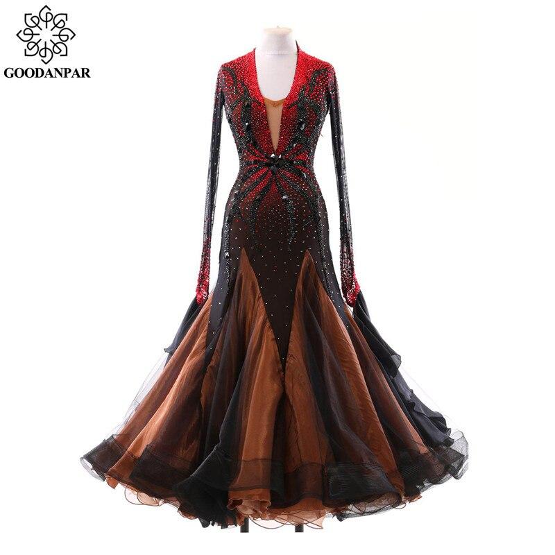 GOODANPAR Femmes Manches Longues pour Femmes Organza Lycra Salle De Bal De Danse Robe Ruban Standard Moderne Valse Costume Concurrence Costume