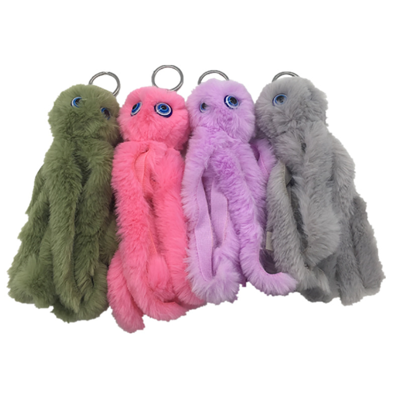 Plush octopus key-ring lady's bag funny squid pendants accessories prank sensory toys