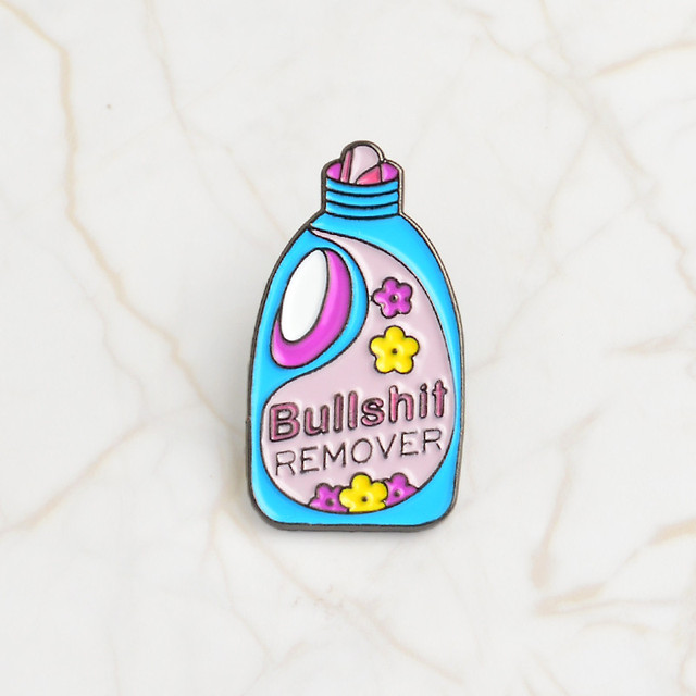 Qihe Jewelry Pins And Brooches Bullshit Remover,Xx Repellent Funny Cleaning Pin Badge Enamel Pins Brooch Lapel Pin by Qihe Jewelry