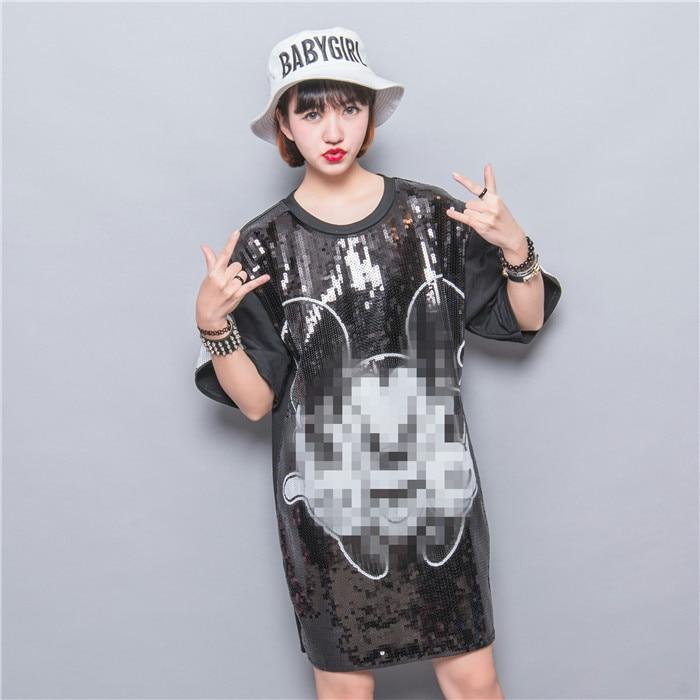 font b Fashion b font paillette HARAJUKU patchwork applique cartoon graphic patterns loose plus size