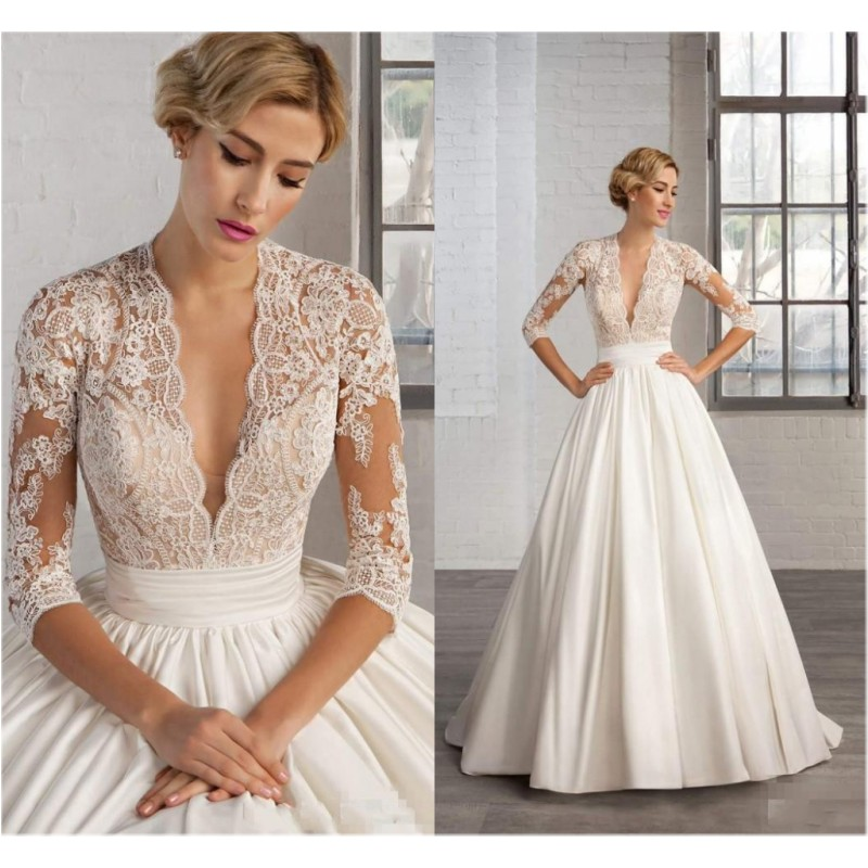 Vintage Wedding Dress Lace Deep V Neck Cash On Delivery