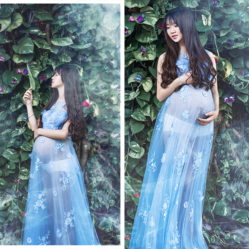 98ac650891fc8 SMDPPWDBB Voile Transperant Blue Maternity Long lace Dresses Pregnant  Photography Props Fancy Pregnancy Beach Flower Blue. sku: 32765031586